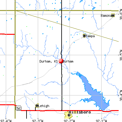Durham, KS map