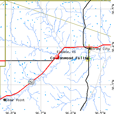 Elmdale, KS map