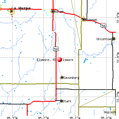 Elsmore, KS map