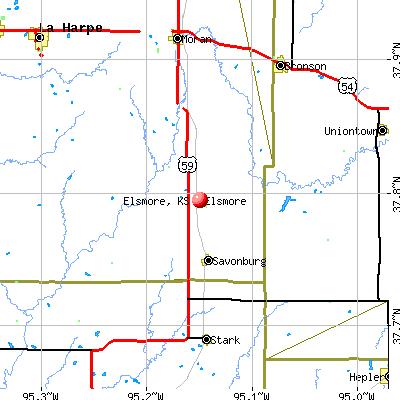 Elsmore, KS map