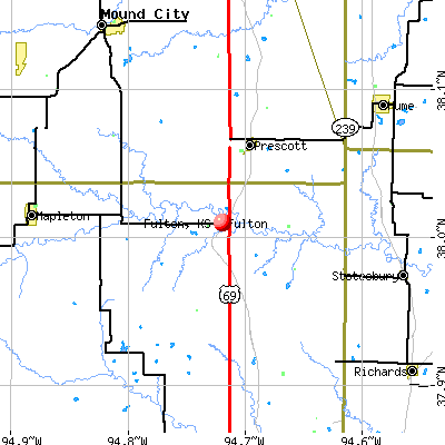 Fulton, KS map