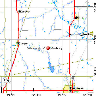 Galesburg, KS map