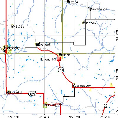 Huron, KS map