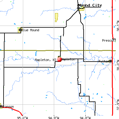 Mapleton, KS map