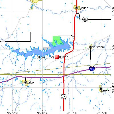 Olivet, KS map