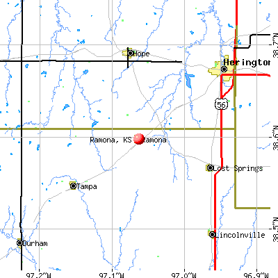 Ramona, KS map