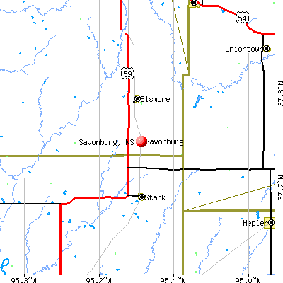 Savonburg, KS map