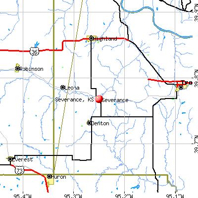 Severance, KS map