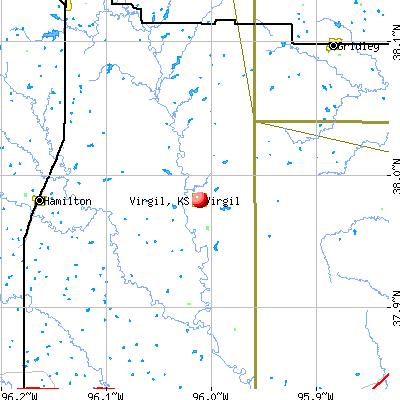 Virgil, KS map
