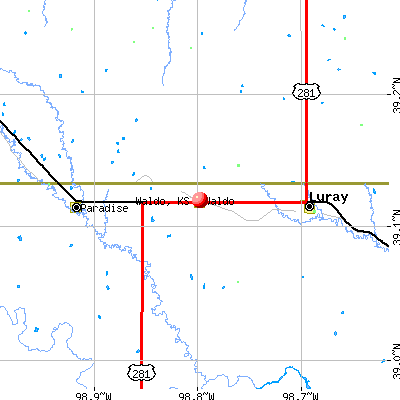 Waldo, KS map