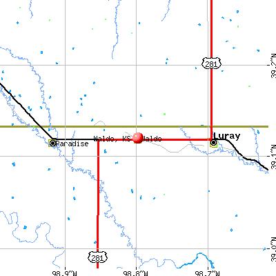 Waldo, KS map