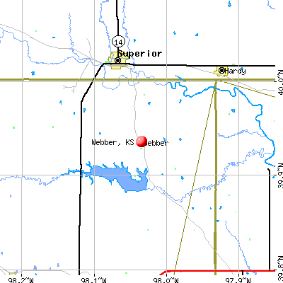 Webber, KS map