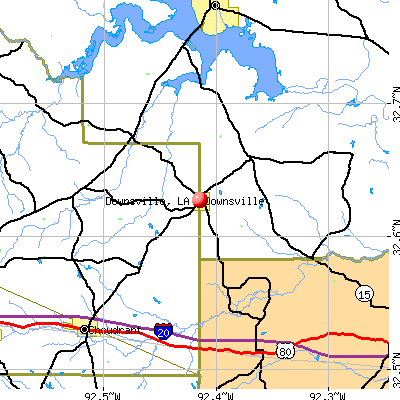 Downsville, LA map
