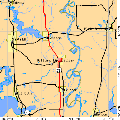 Gilliam, LA map