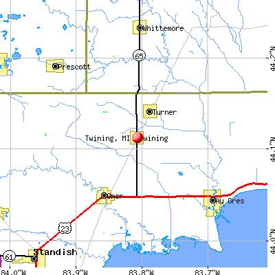 Twining, MI map