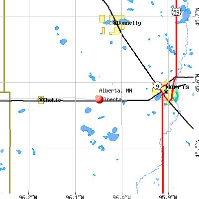 Alberta, MN map