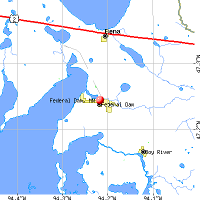 Federal Dam, MN map