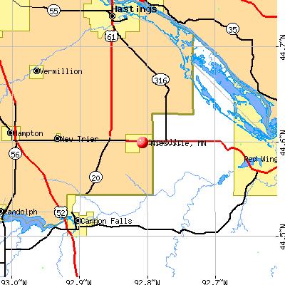 Miesville, MN map