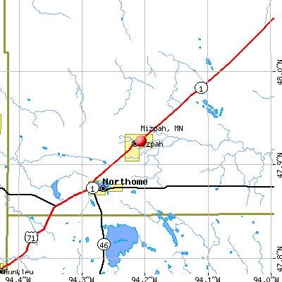 Mizpah, MN map