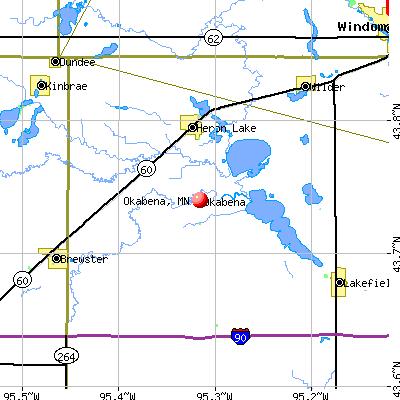 Okabena, MN map