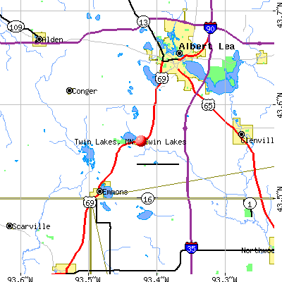 Twin Lakes, MN map