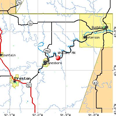 Whalan, MN map