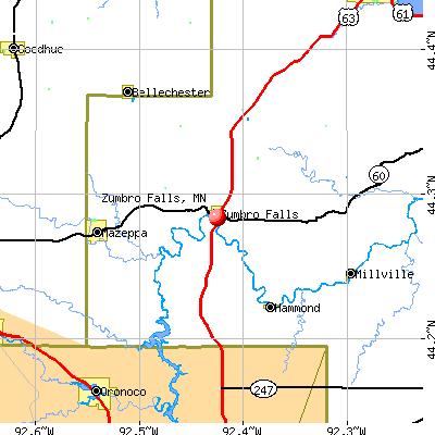 Zumbro Falls, MN map