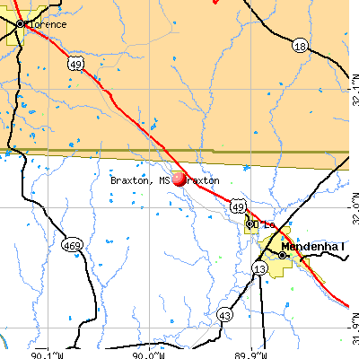 Braxton, MS map