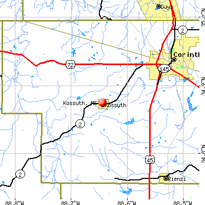 Kossuth, MS map