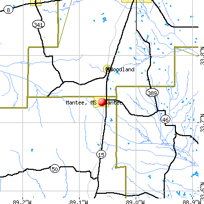 Mantee, MS map