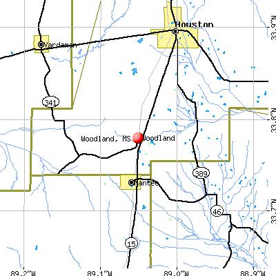 Woodland, MS map