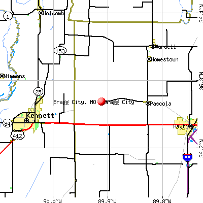 Bragg City, MO map
