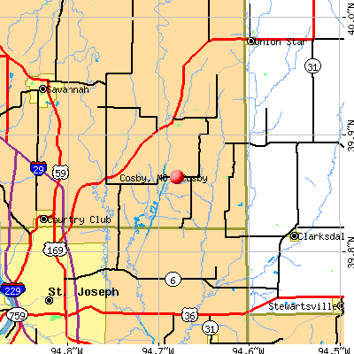 Cosby, MO map