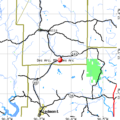 Des Arc, MO map