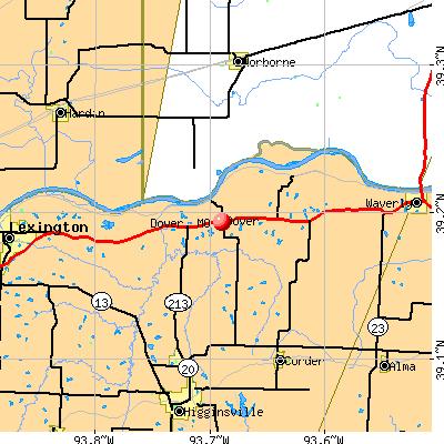 Dover, MO map