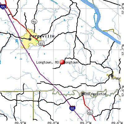 Longtown, MO map
