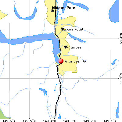 Primrose, AK map