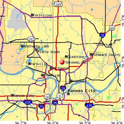 Oakwood, MO map