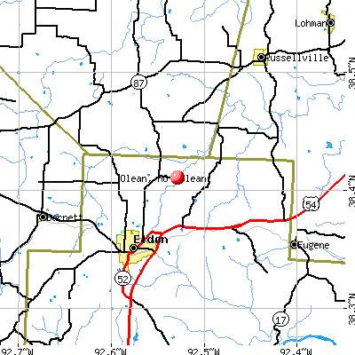 Olean, MO map