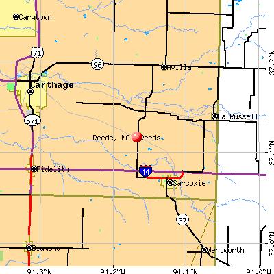 Reeds, MO map