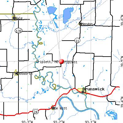 Triplett, MO map