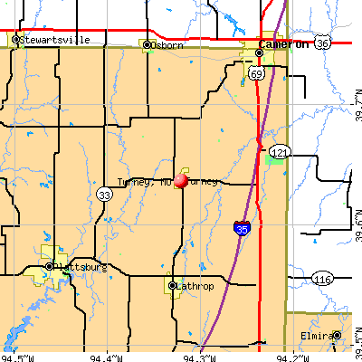 Turney, MO map