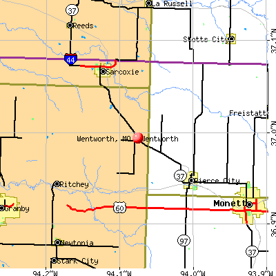 Wentworth, MO map