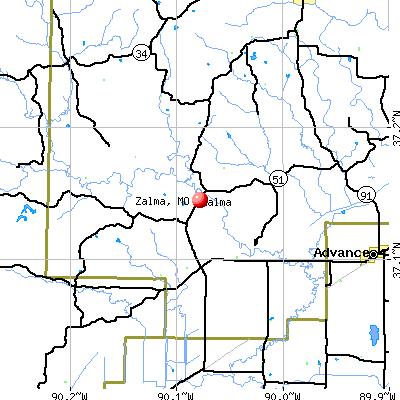 Zalma, MO map