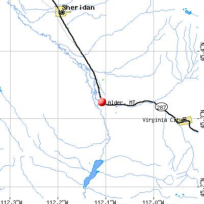 Alder, MT map