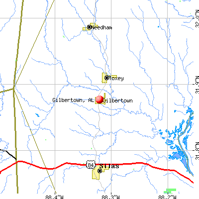 Gilbertown, AL map
