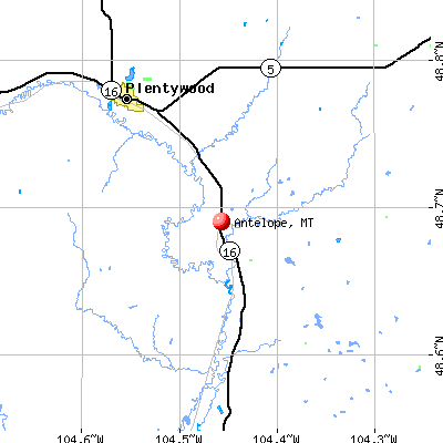 Antelope, MT map