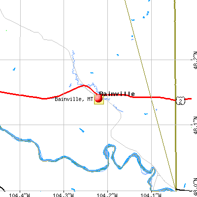 Bainville, MT map