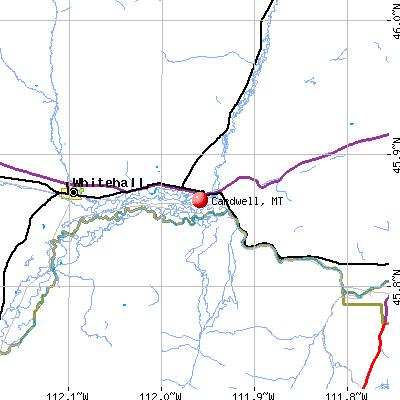 Cardwell, MT map