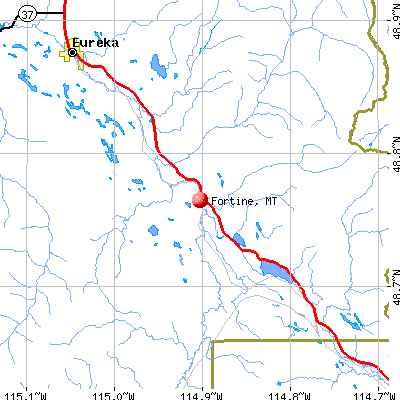 Fortine, MT map